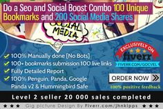 do a Seo and Social Boost Combo 100 Unique Bookmarks and 200 Social Media Shares