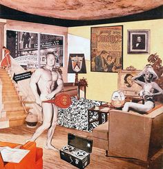 Ричард Гамильтон «Так что же делает наши сегодняшние дома такими разными, такими привлекательными?», 1956  МАТЕРИАЛЫ: вырезки из журналов НАПРАВЛЕНИЕ: поп-арт      Cчитается первой картиной, которую относят к поп-арту. Она была показана на известной выставке This Is Tomorrow в лондонской галерее Whitechapel в 1956 году. Кроме Гамильтона, в ней принимали участие молодые художники, работы которых относят к оп-арту (оптическому искусству) и поп-арту.