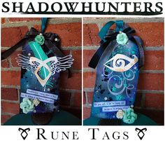 Shadowhunters Rune Tags by Alice Scraps Wonderland | Each tag features a rune worn by Cassandra Clare's shadowhunter characters from her novels as well as lots of shimmery elements that would make High Warlock of Brooklyn and glitter love, Magnus Bane, proud!  Catch ABC Family's premier of Shadowhunters, adapted from Clare's The Mortal Instruments series, in early 2016!