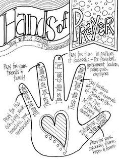 "Look to Him and be Radiant: Hands of Prayer. Would change the ""pointer finger"" to pray for our elders, deacons, minister, Bible class teachers, etc. Bible Lessons For Kids, Bible For Kids, Youth Group Lessons, Preschool Bible Lessons, Bibel Journal, Prayer Stations, Church Activities, Children Activities, Religion Activities"