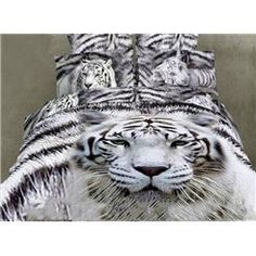 $ 106.69 White Tiger Design  Animal Print Bedding Sets
