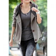 Color Block Hooded Casual Style Long Sleeves Cotton Blend Women's Jacket, GRAY, ONE SIZE in Jackets & Coats   DressLily.com