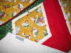 Quilted Christmas Tree Skirt constructed of 100% cotton fabric with birds from 12 Days of Christmas in rich reds, greens and yellow gold.  Treat yourself to this family heirloom beauty to proudly display your presents today and for years to come.  Your tree will never look neglected before or after the presents are displayed under it with this beautiful heirloom tree skirt wrapped around the base of it.  Makes a fabulous present for someone's birthday, anniversary, wedding or a hostess gift.