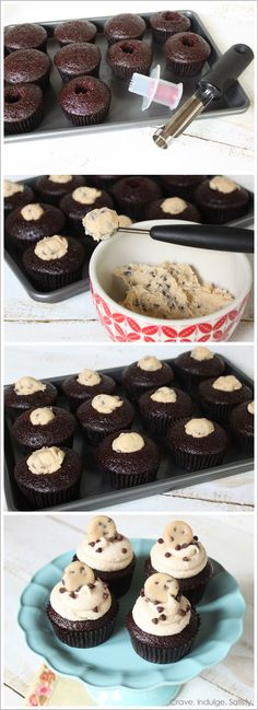 Chocolate Chip Triple Cookie Dough Cupcakes...filling ♥ frosting ♥ garnish