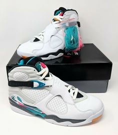 c1e07745377 Nike mens JORDAN VIII 8 RETRO SOUTH BEACH WHITE TURBO GREEN PINK (10 US size