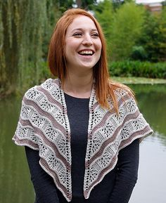 Yarden (pronounced yar-dén) is a lace and stockinette stitch shawl that gets its wavy lines from increases and decreases in the lace sections.