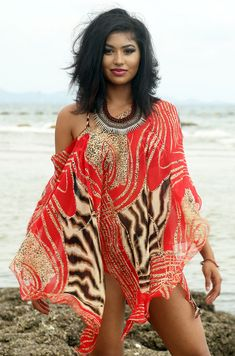 RED CROCHET DRESS beach kaftan style coverup with multi colour trim
