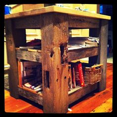 My hubs made me this kitchen island using reclaimed 100+ yr old barn wood from our family farm. The top is made from hard maple and is basically a giant cutting board. It's amazing. <3 Him!