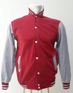 Jaket Baseball Badan Merah Hati (Marun) Lengan Misty Ukuran M