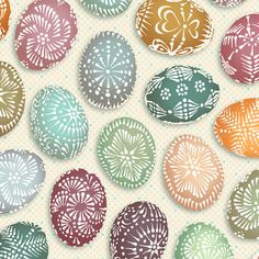 Great for a tablecloth or decoration: Lithuanian Easter Eggs fabric by cathyheckstudio on Spoonflower - custom fabric Egg Crafts, Easter Crafts, Diy And Crafts, Polish Easter, Easter Egg Pattern, Egg Tree, Easter Egg Designs, Ukrainian Easter Eggs, Diy Ostern
