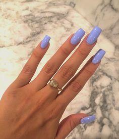 Sky blue nails.