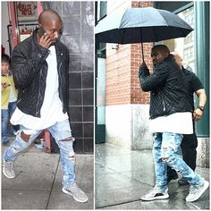 Kanye West Styles In Any Weather wearing Chrome Hearts and Adidas Yeezy Boost Low Sneakers in NYC Fashion Week Paris, New York Fashion, Runway Fashion, Fashion Models, Men's Fashion, Fashion Trends, Street Fashion, Fashion Weeks, Swag Outfits Men