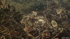The Battle of Bosworth Field in 1485 by artist William Bass, oil on canvas. Courtesy of the Talbot Family. Uk History, Mystery Of History, Asian History, Tudor History, British History, History Facts, King Richard 111, Battle Of Bosworth Field, Clash On