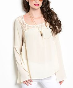 Another great find on #zulily! White Bell-Sleeve Swing Top by Shop the Trends #zulilyfindsv