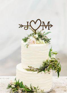 Rustic Wedding Arrow Cake Topper Custom Cake Topper Beach