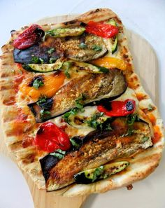 Grilled Vegetable Pizza... I used this as my veggie inspiration on another crust recipe. Was amazing, even with Classico Spicy Red Pepper Marinara sauce instead of pizza sauce. Fresh herbs are key.