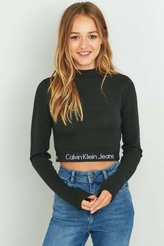 UO Exclusive Calvin Klein Banded Black Long Sleeve Cropped Top