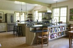 The fully-stocked kitchen easily accommodates group cooking and cooking spectators. Large counters, two ovens, kitchen table seats eight, two dishwashers, three sinks, two ovens, and six burners. High chair and booster chair available.  No microwave.