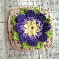 granny squares with crochet flower images - Bing Images