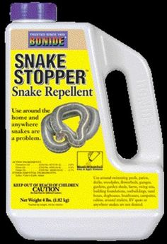 $11.31-$16.19 Bonide Snake Stopper Only California Approved Snake Repellent A potent blend of all natural and USDA recommended ingredients--clove oil, cedar oil, cinnamon oil and sulfur combine to effectively repel snakes from yards, gardens, sheds, campsites, patios, decks---anywhere they are undesirable. Snake Stopper does not harm snakes; it simply drives them away naturally. Safe for use wher ...