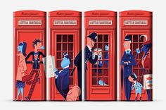 Shortbread Tin by Marks & Spencer: The embossed design features a variety of classic British characters queued up around a telephone booth.