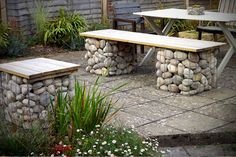 garden bench and seat made out of 600mm gabion beasket