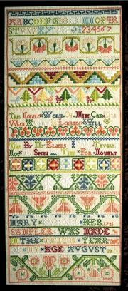 "American Sampler ~ Mary Burgess ~ 1725 ~ earliest known Rhode Island band sampler ~  the inscription reads ""This needle work of mine can tell when a child is learned well, that by my elders, I was taught not to spend time for nought."" ~ Stitches used are cross, montenegrin, marking stitch, algerian eye, cross over one, satin, double running and long armed cross ~ Museum of Fine Art in Boston"