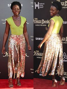 Lupita Nyong'o modeling her gladiator-style J.Crew sequin maxi skirt inspired by car wash flaps