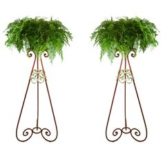 ART DECO Featured are a pair of Art Deco plant stands. Art Deco Decor, Plant Hanger, Wicker, Victorian, Tanning Salons, Antiques, Creative, Plant Stands, Green