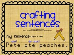 Crafting Sentences is a lesson plan I used in my first grade class to help my students write a complete sentence. The file includes the lesson plan, blank graphic organizers, and completed graphic organizers (for teacher use). 1st Grade Writing, First Grade Reading, Kindergarten Writing, Teaching Writing, Writing Activities, Kindergarten Classroom, Therapy Activities, Teaching English, Writing Complete Sentences