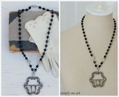ON SALE.....Vintage Riveted Steel Belt Buckle, Onyx and Rhinestone One of a Kind Necklace... Downton Inspired  05