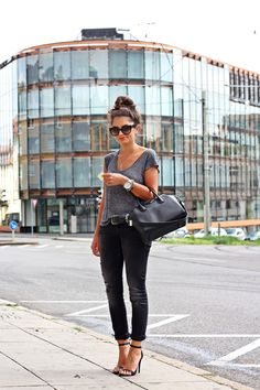 FashionHippieLoves: Grey tee + black skinnies + black Givenchy bag + Black sandals