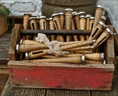 RESERVED for Creationsmadetolove 14 Bobbins and 1 by BrocanteArt