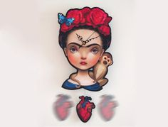 Frida wall clock pendulum clock Frida Kahlo clock by Meluseena Frida Kahlo Artwork, Frida And Diego, Pendulum Clock, Quirky Decor, Hearth And Home, Clocks, Household, Lisa, Fantasy