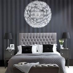 wand streifenmuster moderne schlafzimmer designs schwarz weiß