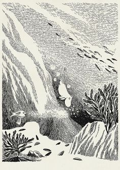 Moomin illustration by Tove Jansson Tove Jansson, Art And Illustration, Moomin Books, Art Manga, Art Inspo, Line Art, Art History, Illustrators, Art Photography