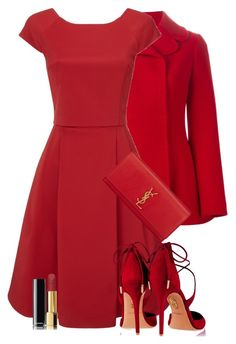 """""""LITTLE RED DRESS"""" by lbite ❤ liked on Polyvore featuring Dolce&Gabbana, Phase Eight, Aquazzura, Yves Saint Laurent and Chanel"""
