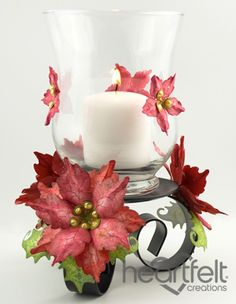 Heartfelt Creations   Sparkling Poinsettia Altered Candle