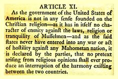"""Treaty of Tripoli, Article 11. A """"must read"""" for all revisionists claiming the U.S. is a Christian nation."""