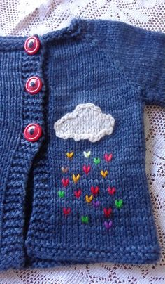 nice detail of a cloud with colored rain for a baby jacket ideas creative crochet Baby Knitting Patterns, Knitting For Kids, Baby Patterns, Knitting Projects, Crochet Baby Sweaters, Knit Or Crochet, Crochet For Kids, Crochet Hats, Booties Crochet