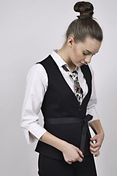 business look, black waiscoat, black tie, white shirt, black and white, management, reception, uniform, uniforms Black Tie, Black And White, Business Look, Reception, Management, Vest, Jackets, Shirts, Dresses