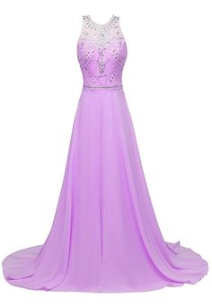 Prom Queen Women's Beads Sequin Evening Gown Long Chiffon Prom Dress US2 Lilac