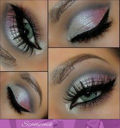 Gorgeous makeup look with black eyeliner and silver glitter eyeshadow. Gorgeous makeup look with black eyeliner and silver glitter eyeshadow. Kiss Makeup, Cute Makeup, Gorgeous Makeup, Pretty Makeup, Beauty Makeup, Hair Makeup, Devil Makeup, Glamour Makeup, Awesome Makeup