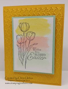 2014 created a light watercolor wash with re-inkers and an aqua pen on watercolor paper before stamping the image from Blessed Easter. So pretty. (Blessed Easter (133212) Aqua Painters (103954))