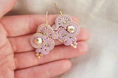 earrings braid soutache powder pink gold by CattaleyaJewelry
