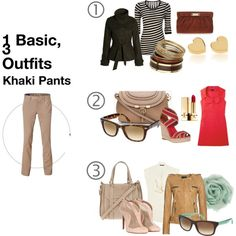 1 Basic, 3 Outfits: Khaki Pants, created by naushinazim.polyv...