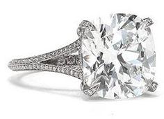 Tiffany Split Shank Cushion Cut Diamond