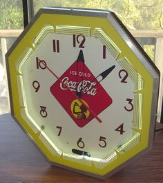 "VINTAGE COCA-COLA OCTOGANAL NEON CLOCK 18½"" WITH SILLOUETTE GIRL NPI N.P.I. SIGN"