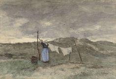 Vrouw bij een waslijn in de duinen, Anton Mauve, 1848 - 1888