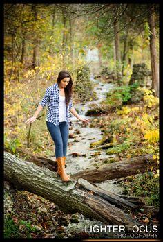 Fall Photoshoot Ideas - Lake Ozark senior photography by a stream during the fall Outside Senior Pictures, Fall Senior Pictures, Senior Photos Girls, Fall Pictures, Fall Photos, Senior Pics, Senior Year, Fall Pics, Fall Senior Photography